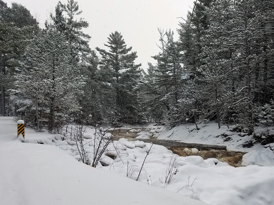 Snowy view of the Amnicon River. - Photo credit: Dave Lindsley