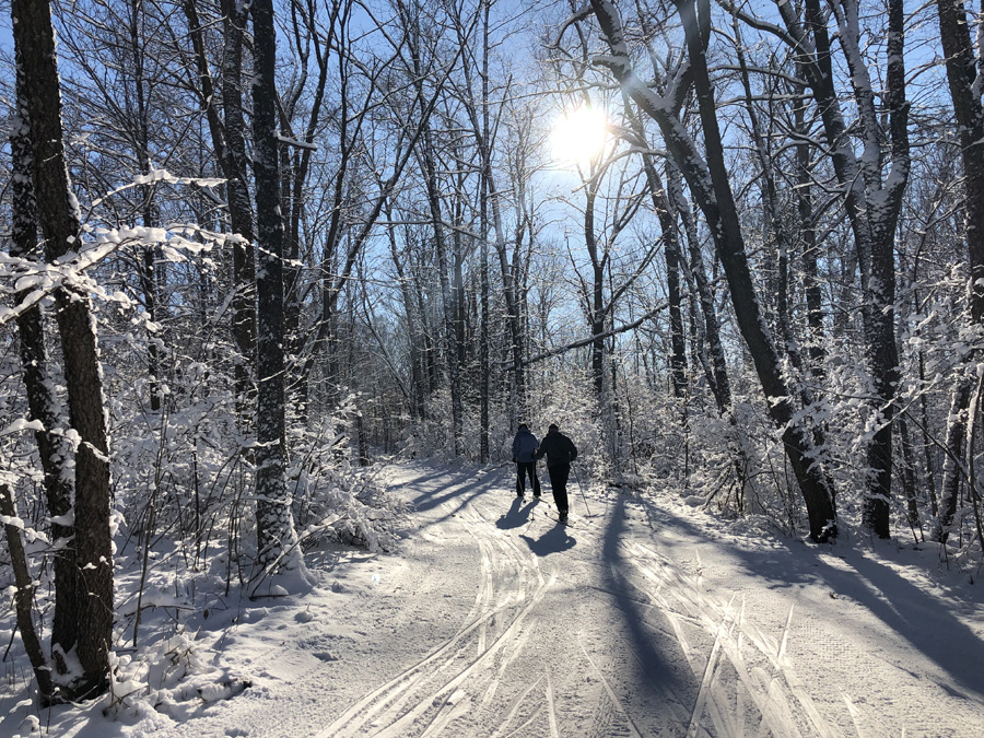 A mother and son duo enjoying the beauty of the Kettle Moraine State Forest-Northern Unit Zillmer ski trails on Thursday. - Photo credit: James Enigl