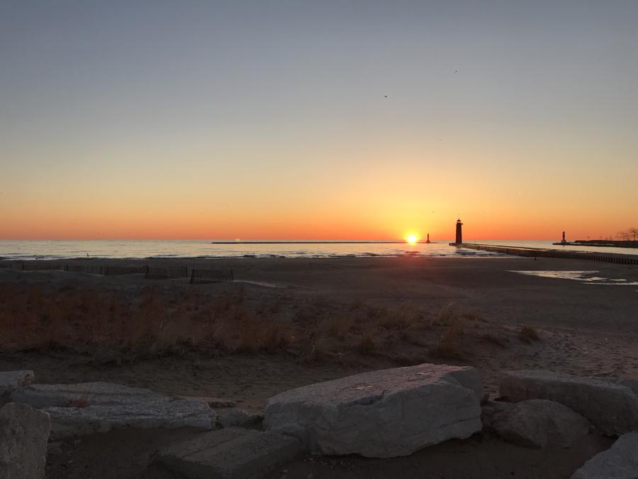 Sunrise greeting anglers along the Kenosha shoreline. - Photo credit: DNR