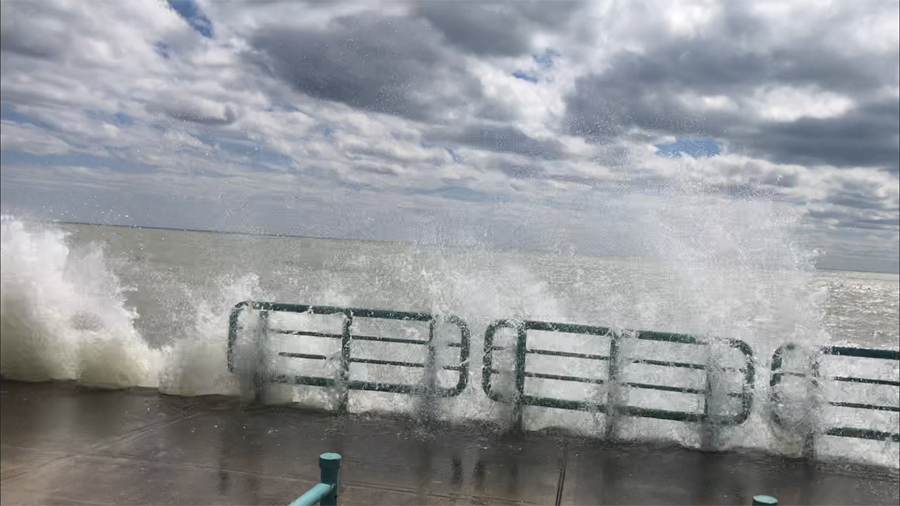 Waves crashing over the Racine breakwater last week. - Photo credit: DNR