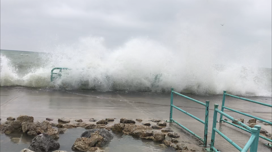 Strong wind and waves made for some difficult fishing conditions at Racine last week. - Photo credit: Andrew Krecak