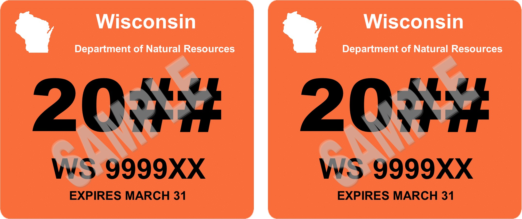 Sample WI Registration Expiration Decals