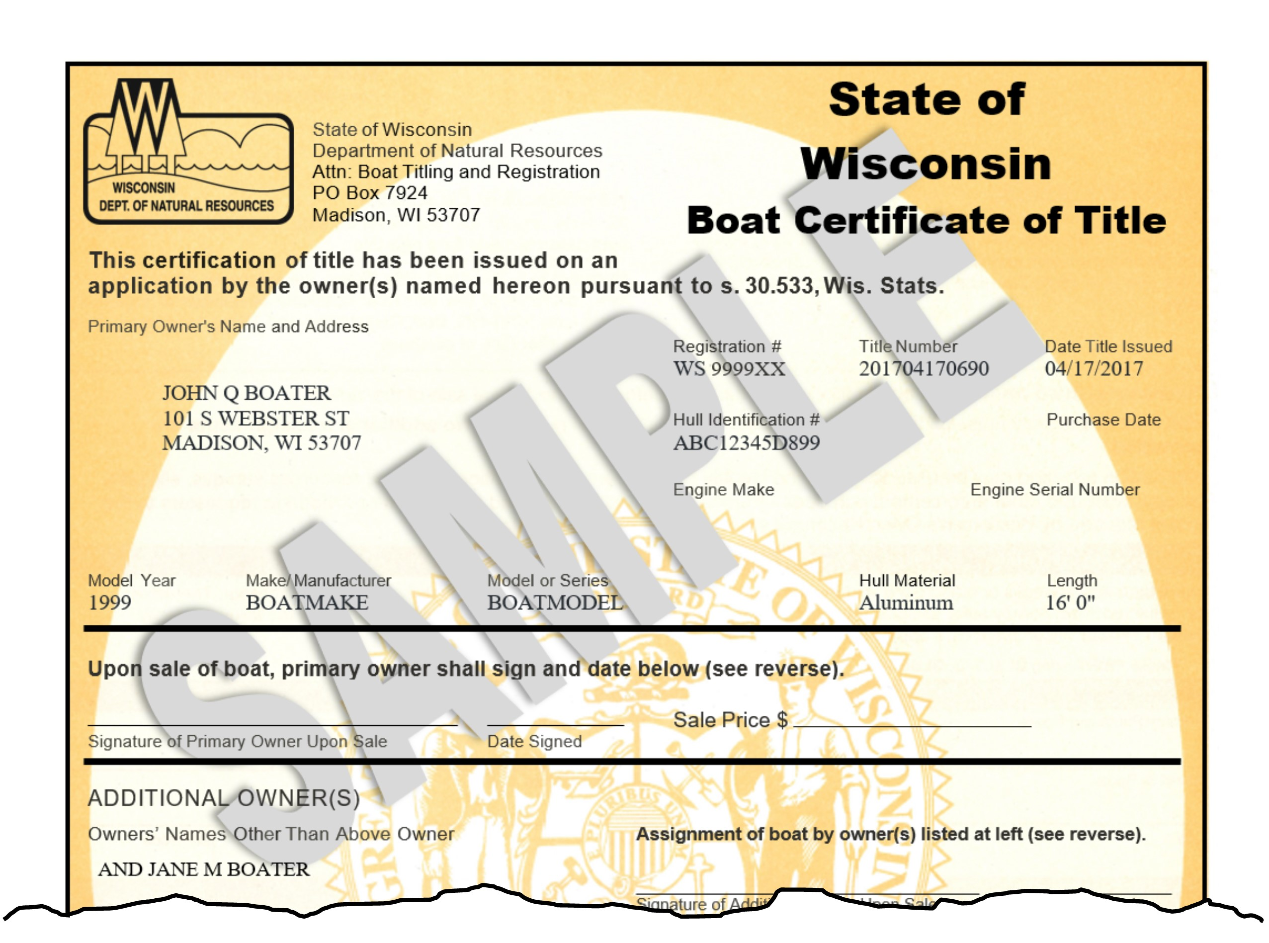 How to Register Your Boat - templates - Wisconsin DNR