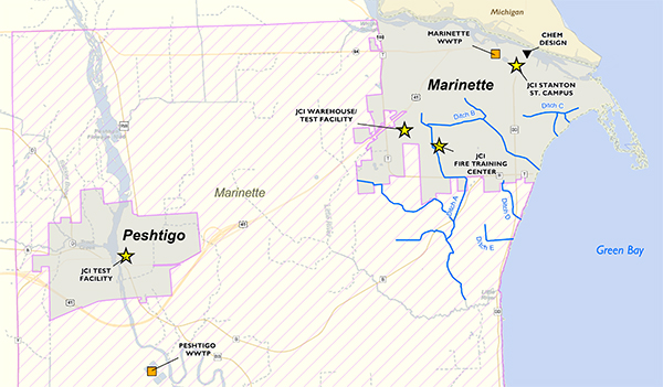 PFAS contamination in the Marinette and Peshtigo area