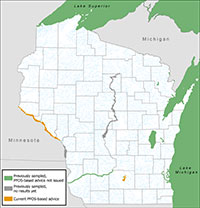 Map of Wisconsin waterbodies sampled for PFAS since 2006