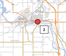 map of PFAS study for Wisconsin River, Site 2