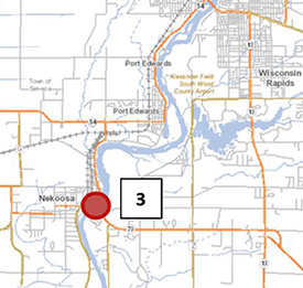 map of PFAS study for Wisconsin River, Site 3