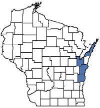 Counties shaded blue have documented occurrences for Great Lakes Ridge and Swale in the Wisconsin Natural Heritage Inventory database.