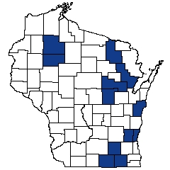 Counties shaded blue have documented occurrences for Lake--Hard Bog in the Wisconsin Natural Heritage Inventory database.
