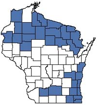 Counties shaded blue have documented occurrences for Ephemeral Pond in the Wisconsin Natural Heritage Inventory database.