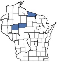 Counties shaded blue have documented occurrences for Lake--Meromictic in the Wisconsin Natural Heritage Inventory database.
