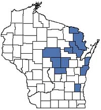 Counties shaded blue have documented occurrences for Lake--Deep, Hard, Seepage in the Wisconsin Natural Heritage Inventory database.
