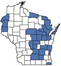 Counties shaded blue have documented occurrences for Lake--Shallow, Hard, Seepage in the Wisconsin Natural Heritage Inventory database.