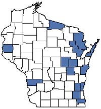 Counties shaded blue have documented occurrences for Southern Hardwood Swamp in the Wisconsin Natural Heritage Inventory database.