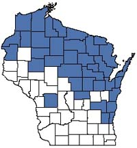 Counties shaded blue have documented occurrences for Northern Wet-mesic Forest in the Wisconsin Natural Heritage Inventory database.