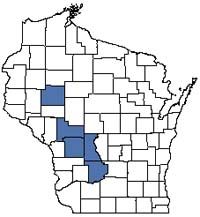 Counties shaded blue have documented occurrences for White Pine-Red Maple Swamp in the Wisconsin Natural Heritage Inventory database.