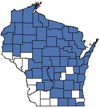 Counties shaded blue have documented occurrences for Northern Wet Forest in the Wisconsin Natural Heritage Inventory database.