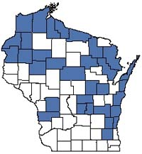 Counties shaded blue have documented occurrences for Hardwood Swamp in the Wisconsin Natural Heritage Inventory database.