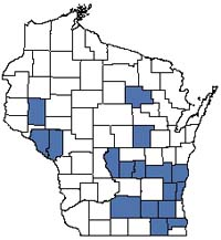 Counties shaded blue have documented occurrences for Southern Tamarack Swamp in the Wisconsin Natural Heritage Inventory database.