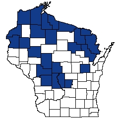 Counties shaded blue have documented occurrences for Northern Tamarack Swamp in the Wisconsin Natural Heritage Inventory database.