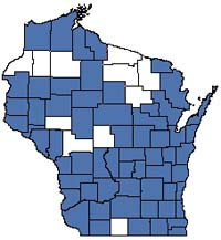 Counties shaded blue have documented occurrences for Emergent Marsh in the Wisconsin Natural Heritage Inventory database.
