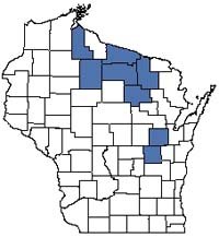 Counties shaded blue have documented occurrences for Wild Rice Marsh in the Wisconsin Natural Heritage Inventory database.