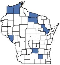 Counties shaded blue have documented occurrences for Submergent Marsh in the Wisconsin Natural Heritage Inventory database.