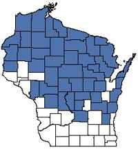 Counties shaded blue have documented occurrences for Northern Sedge Meadow in the Wisconsin Natural Heritage Inventory database.