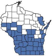 Counties shaded blue have documented occurrences for Southern Sedge Meadow in the Wisconsin Natural Heritage Inventory database.