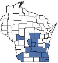 Counties shaded blue have documented occurrences for Calcareous Fen in the Wisconsin Natural Heritage Inventory database.
