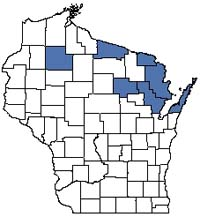 Counties shaded blue have documented occurrences for Boreal Rich Fen in the Wisconsin Natural Heritage Inventory database.