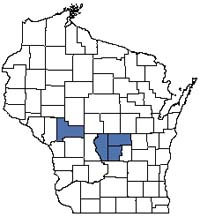 Counties shaded blue have documented occurrences for Coastal Plain Marsh in the Wisconsin Natural Heritage Inventory database.