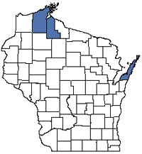 Counties shaded blue have documented occurrences for Great Lakes Shore Fen in the Wisconsin Natural Heritage Inventory database.