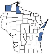 Counties shaded blue have documented occurrences for Interdunal Wetland in the Wisconsin Natural Heritage Inventory database.