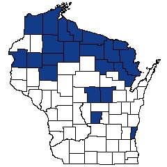 Counties shaded blue have documented occurrences for Poor Fen in the Wisconsin Natural Heritage Inventory database.