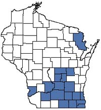 Counties shaded blue have documented occurrences for Wet-mesic Prairie in the Wisconsin Natural Heritage Inventory database.