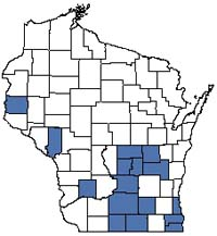 Counties shaded blue have documented occurrences for Wet Prairie in the Wisconsin Natural Heritage Inventory database.