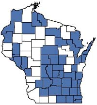 Counties shaded blue have documented occurrences for Shrub-carr in the Wisconsin Natural Heritage Inventory database.