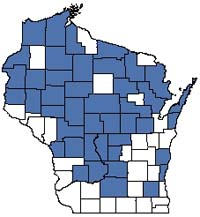 Counties shaded blue have documented occurrences for Alder Thicket in the Wisconsin Natural Heritage Inventory database.