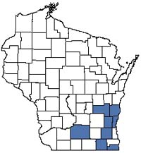 Counties shaded blue have documented occurrences for Bog Relict in the Wisconsin Natural Heritage Inventory database.