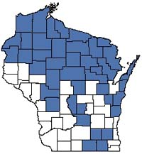 Counties shaded blue have documented occurrences for Open Bog in the Wisconsin Natural Heritage Inventory database.