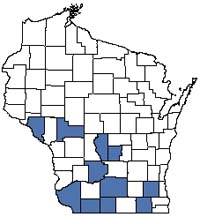 Counties shaded blue have documented occurrences for Oak Woodland in the Wisconsin Natural Heritage Inventory database.