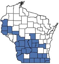 Counties shaded blue have documented occurrences for Southern Dry Forest in the Wisconsin Natural Heritage Inventory database.