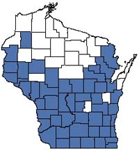 Counties shaded blue have documented occurrences for Southern Dry-mesic Forest in the Wisconsin Natural Heritage Inventory database.