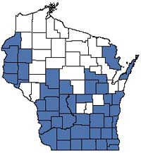 Counties shaded blue have documented occurrences for Southern Mesic Forest in the Wisconsin Natural Heritage Inventory database.