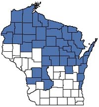 Counties shaded blue have documented occurrences for Northern Mesic Forest in the Wisconsin Natural Heritage Inventory database.