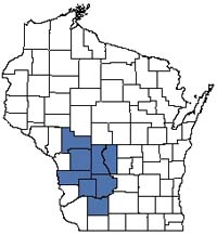 Counties shaded blue have documented occurrences for Hemlock Relict in the Wisconsin Natural Heritage Inventory database.