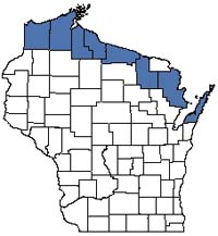Counties shaded blue have documented occurrences for Boreal Forest in the Wisconsin Natural Heritage Inventory database.