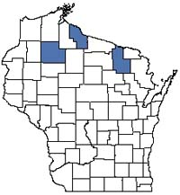 Counties shaded blue have documented occurrences for Mesic Cedar Forest in the Wisconsin Natural Heritage Inventory database.