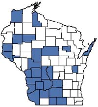 Counties shaded blue have documented occurrences for Dry Cliff in the Wisconsin Natural Heritage Inventory database.